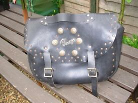 Virago leather motorcycle pannier bag.