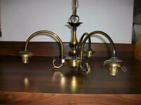 Brass 3 arm chandelier light fitting
