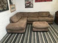 Gorgeous suede corner sofa with footstool