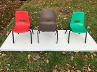 Children's / Adults industrial chairs indoor or out door used GoPack industrial fold down tables