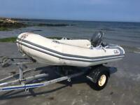 Avon 2.8meter rib boat trailer and outboard