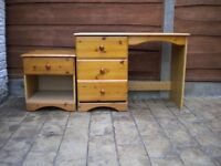 Pine desk with drawers and cabinet with one drawer