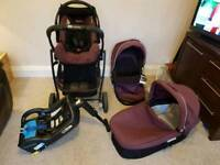 Baby travel system. Pram, car seat, carry cot, iso fix car base