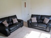 2 Black Leather Sofas (2 Seaters) PRICE REDUCED!!