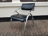STUNNING ULTRA STYLISH RETRO DESIGNER CHROME BLACK VINYL OFFICE STUDY RECEPTION CHAIR VGC