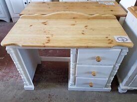 Shabby Chic Pine Desk/Dressing Table In Rustoleum Chalk White (#1083)