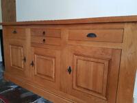 Eddershaws French Oak Collection large 3 door, three draw sideboard