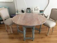 Antique, shabby-chic, oak, drop-leaf, dining table