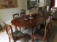beautiful antique mahogany extending table and chairs