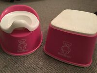 BABY BJORN PINK POTTY & STEP STOOL, GREAT CONDITION