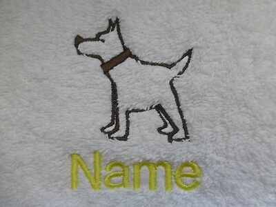 - TERRIER Embroidered onto Towels, hooded Towel, Bath Robes with Personalised name
