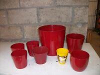 8 Assorted Red Pots for plants ( indoor )