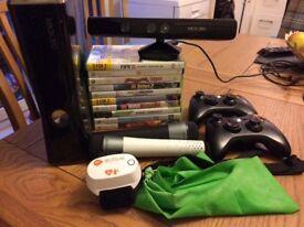 Xbox 360 bundle inc Kinect sensor/ accessories/ microphones/ games