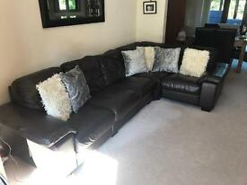 Corner brown real leather sofa with chair and foot stall