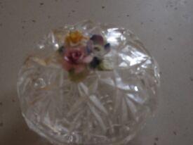 Vintage Lidded Crystal Glass Trinket Box