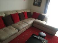 Cream Genuine Leather Corner Sofa With Arm Chair and Footstool