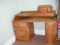 Large Antique Pine Double Pedestal Computer Desk - £100