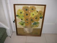 Framed Oil painting Of Sunflowers Weymouth free local delivery