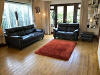 DFS Brown Leather 3 + 2 Seater Sofas + Footrest Excellent Condition 3 Years Old