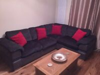 Grey corner sofa immaculate condition full back cushions