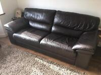 Free 1 and 3 Seater brown leather sofa