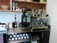 Fracino 2 group coffee machine and grinder and knock box
