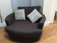 Brown Swivel chair, brown fabric