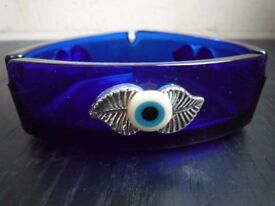10 x Evil Eye Blue Glass Turkish Ashtrays – perfect for a Shisha Bar
