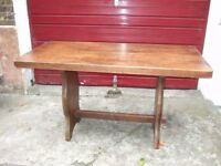 Vintage rectangular solid wood refectory style kitchen table - charity sale, can deliver