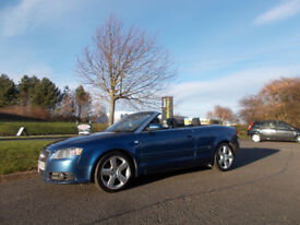 AUDI A4 S-LINE TDI DIESEL SPORTS CONVERTIBLE BLUE NEW SHAPE 2007 BARGAIN £3650 *LOOK* PX/DELIVERY