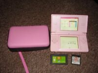 NINTENDO DS PINK WITH CASE AND GAMES