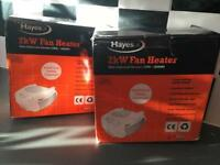 2 x new Hayes fan heaters £10 each or both for £15