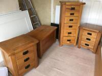 Oak bedroom furniture side table chest of drawers ottoman
