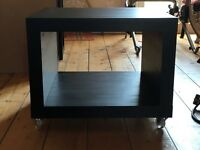 Ikea side table on casters, all black, assembled. perfect condition