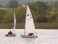 "Shadow sailing dinghy, no. 184, 12'3"" (375cm) and road trailer"