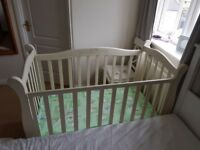 Designer baby bed / crib / cot, solid wood, bamboo mattress included