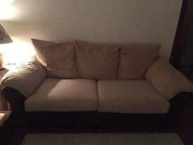 DFS 2 Seater Sofa Beige and Brown