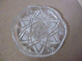 Cut Glass Platter: Circular Relish Serving Dish,