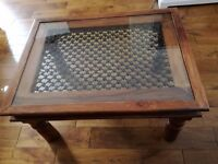 A QUALITY SHEESHAM PINE INDIAN COFFEE TABLE WOOD GLASS IRON