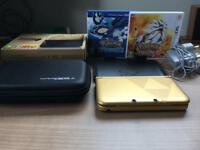 NINTENDO 3DS XL LIMITED EDITION ZELDA GOLD + Pokémon alpha sapphire + Pokémon Sun BUNDLE