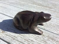 hand carved solid hard wood frog - awesome paperweight