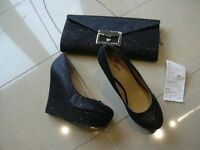 BLACK GLITTERY BAG AND PLATFORM SHOES SIZE 7 (COST £35 SHOES) WORN ONCE GREAT FOR CHRISTMAS PARTIES
