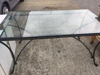Large glass top table