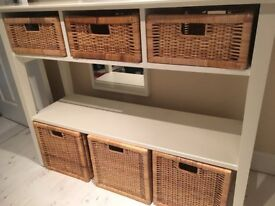 Lounge/Dining Room/Bedroom unit with shelf and basket storage,