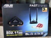 Asus 802.11 PCIE wireless AC 1300 Dual Channel 2.4 and 5G complete with installation CD