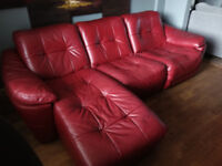 DFS Claret Red Leather Sofa (3 Seater Chaise & Chair)