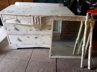 Shabby chic drawer unit with mirror old / vintage