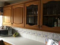 Complete used pine kitchen, worktops, integral dishwasher, gas cooker & oven