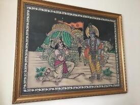 Original India Tapestry's in gold frame