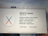 APPLE MACBOOK PRO RETINA DISPLAY INTEL CORE I7 2.8GHZ 8GB RAM WIFI WEBCAM OS X